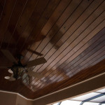 Rich Wood Deck Ceiling With Fan